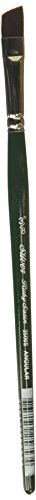Silver Brush 2506S-038 Ruby Satin Short Handle Synthetic Brush, Angular, 3/8-Inch