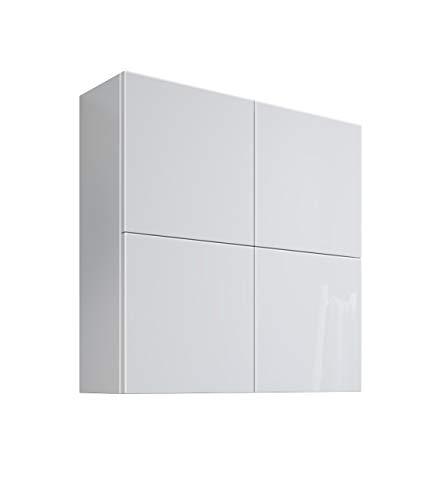 MaMa Store Atena - Armario de Pared Doble con 4 Puertas y Sistema de Apertura Push ADN Pull, Laminado, Blanco Brillante Lacado, 71 x 22 x 71 cm