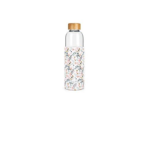 Label Tour- Botella de cristal y funda de silicona con tapón de bambú, diseño de flores pequeñas (LTGLASP43), 750 ml, altura: 25,5 cm