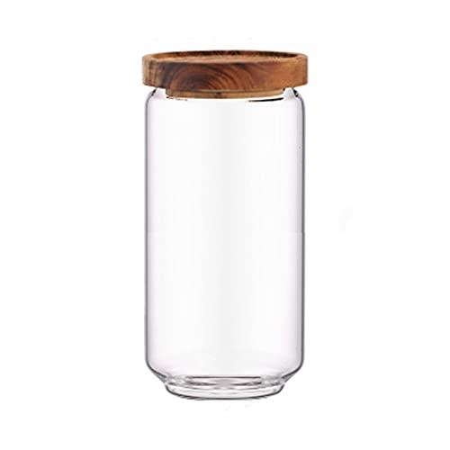 ZQJD Cocina del hogar Tanque de almacenamiento sellado de madera tanque sellado Gaopeng botella de almacenamiento de vidrio de silicio, transparente, 1000 ml