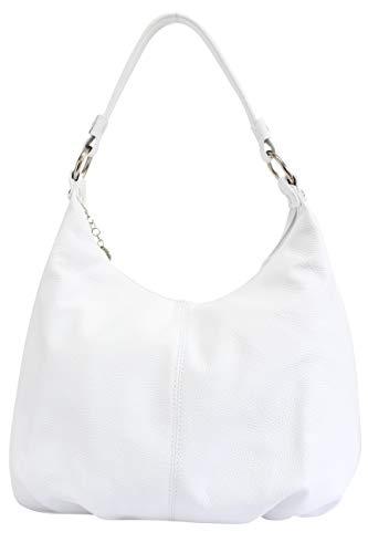 AMBRA Moda,Damen Handtasche, Echtes Leder,Beutel,Schultertasche,Hobo Bags,Shopper, DIN-A4 GL001 (Weiss)