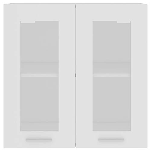 Qnotici Armadietti in truciolare e Vetro, armadietti da Cucina pensili armadietti per la casa 60 x 31 x 60 cm-Bianco