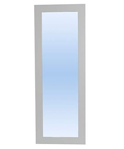 Desconocido Espejo con Marco Textura imitación Madera Disponibles en Varios Tonos y tamaños Decorativo para Dormitorio salón Pasillo vestidor Horizontal y Vertical (170 x 70 cm, Blanco Liso)
