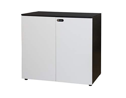 Happy Home Schrank mit Zahlenschloss Büroschrank Aktenschrank Büromöbel Weiß, Schwarz / B80 x T40 x H75 cm