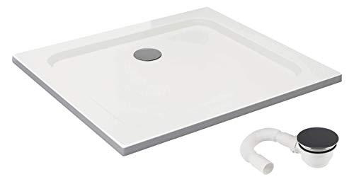Vilstein douchebak, zeer vlak, douchebak met hellingen, sanitair acryl, met glasvezel versterkte kuip, DIN-aansluiting, vorm: vierkant, wit, sneeuwwit hoogglans 90 x 100 cm Wit - met afvoergarnituur