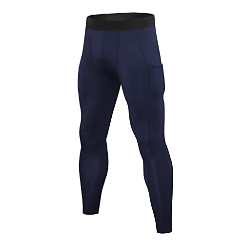Yihaojia Men's Sports Compression Pants Quick-Dry Base Layer Active Tights Workout Running Leggings with Pockets Navy