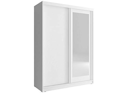 Furniture24 Schwebetürenschrank Alaska 150, Kleiderschrank, Schrank, Schiebetür, Schlafzimmerschrank mit Kleiderstange, Einlegeboden und Spiegel (Weiß)