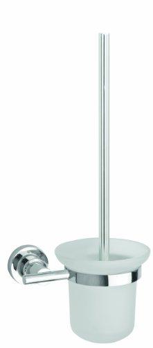 Nie Wieder Bohren luup WC-Bürstengarnitur, verchromt, inkl. Klebelösung, garantiert rostfrei, satiniertes Glas, 385mm x 160mm x 120mm