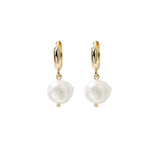 Pendientes de perlas, pendientes de mujer, de perlas, de plata, con circonitas, para mujeres y niñas. Pendientes de aro pequeños para mujeres y niños.
