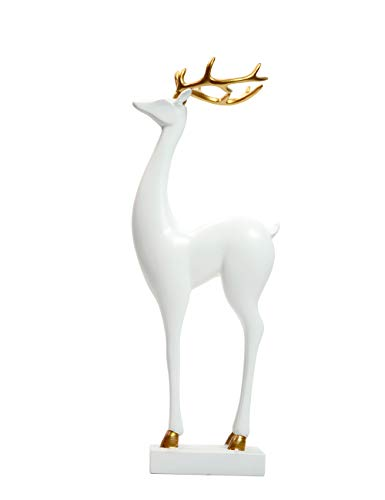 Amoy-Art Skulptur FigurJoyful Hirsch Statue Art Tier Dekor für Haus Geschenk Andenken Giftbox Resin Weiß 32cmH