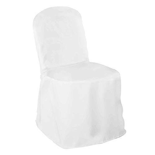 Lann's Linens. - 10 Wedding Banquet Chair Covers - White Polyester Cloth