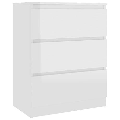 vidaXL Sideboard mit 3 Schubladen Kommode Anrichte Schrank Schubladenschrank Mehrzweckschrank Standschrank Hochglanz-Weiß 60x35x76cm Spanplatte