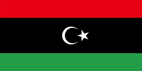 Libye (nouveau) : 18 cm x 30 cm-Drapeau à agiter à la main sur Bâton en bois