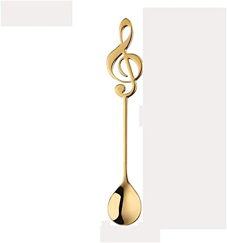 JDTBYMXX Teaspoon Music Note Spoons Teaspoons Colorful Dessert Spoon,304 Stainless Steel Musical Notation Shaped Coffee Spoons Spoons for Home, Kitchen or Restaurant (Color : G, Size : Small)