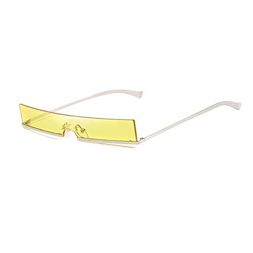 FDNFG Mujeres Moda Gafas de Sol Designer de Lujo Clear Rectangle Lente Personalidad Gafas de Sol Trasas Mujer Eyewear UV400 Gafas de Sol (Lenses Color : Silver and Yellow)
