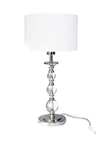 anTes interieur Tischleuchte Pandora weiß mit 10 Watt LED-Leuchtmittel/Stoffschirm/Metall verchromt/28 cm Durchmesser/57 cm hoch/Nachttischlampe Wohnzimmer Schlafzimmer