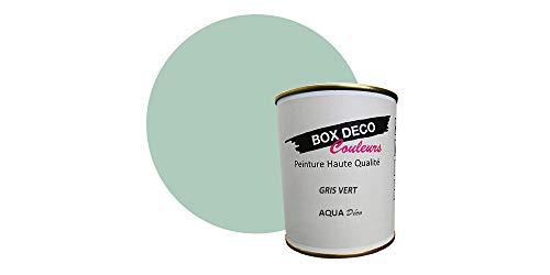 Peinture acrylique aspect mat Aqua déco - Murale - 44 couleurs - 750 ml - 7.5 m² (Gris vert)