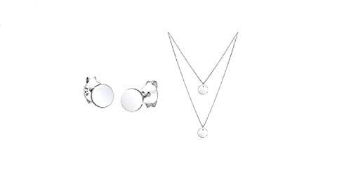Elli Pendientes básicos de moda forma circular en plara de ley 925 + Collares