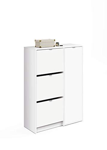 Muebles Pitarch Trevi Zapatero-Botero, Blanco Alto Brillo, 122 x 85 x 37 cm