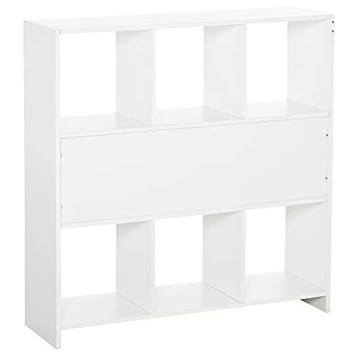 HOMCOM Estantería Librería con 8 Compartimentos Estantería de Exposición Libros Estilo Moderno para Sala de Estar Dormitorio Oficina 97,5x30x100 cm Blanco