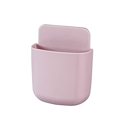 1 Uds caja de almacenamiento multiusos caja de almacenamiento de control remoto montado en la pared soporte de enchufe para teléfono móvil soporte contenedor redondo rosa