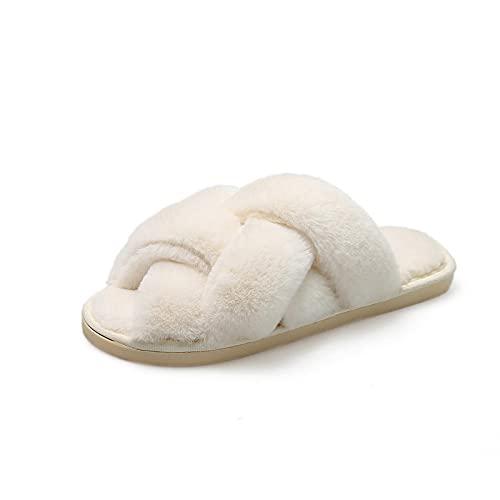 NUGKPRT chanclas,Zapatillas de mujer Diapositivas Felpa Fleece Invierno Cálido Hogar Interior Zapatos al aire libre Señora 36-37 Beige