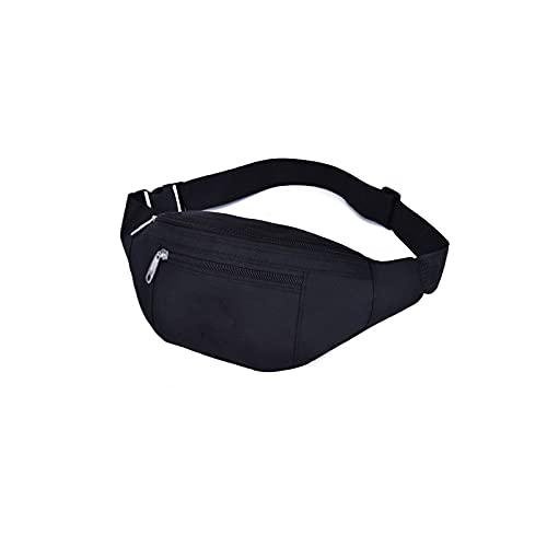 Yuxahiugyb Bolso Paquetes de Cintura, Bolsa de Cintura de Nylon Bolsa de cinturón de Mujer Hombres Fanny Pack Moda Colorido Bolso de Vino Bolso de Viaje Bolsillo Bolsillo (Color : Black)