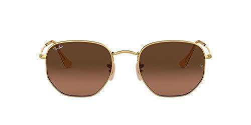 Ray-Ban RB3548N Flat Lens Polarized Hexagonal Sunglasses, Gold/Brown Gradient Grey, 48 mm