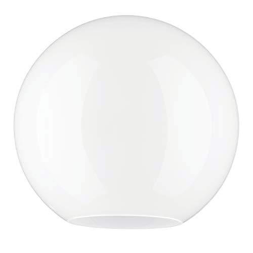 Weiß Glas Ersatz Anhänger Kugel Lampenschirm.  20.0cm DURCHMESSER KUGEL.  Umfang: 63 cm, Leuchte-Loch: 3.1 cm, Großes Loch: 9.0 cm (Kreis, Gobus, Kugelförmig, Licht)