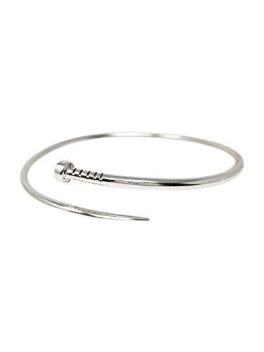 TreasureBay Armreif für Damen und Herren, 925 Sterlingsilber, gedrehte Nägel