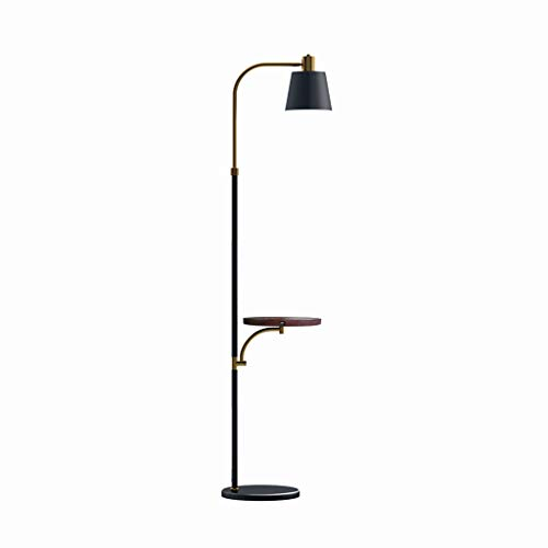 VVAN LED Floor Lamp Mid Century Standing Light USB Charging Port and Wireless Charging for Living Room Bedroom Office Reading Floor Lamp (Color : Brown)