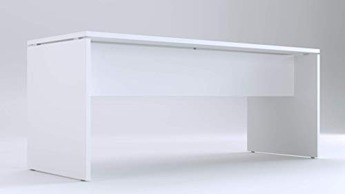 TIME Scrivania per Ufficio o casa Bianca | Larghezza 180 cm | profondità 65 | Altezza 73 cm