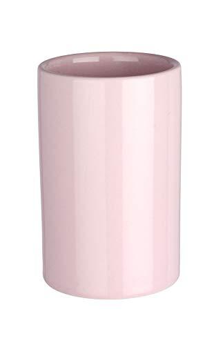 WENKO Gobelet Polaris pastel rose - Porte-brosse à dents pour la brosse à dents et le dentifrice, Céramique, 7 x 11 x 7 cm, Rose