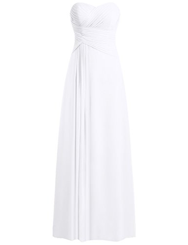 JAEDEN Beach Wedding Dresses for Bride Strapless Sweetheart Bridal Gown Chiffon Pleat Wedding GownsWhite XS (Apparel)