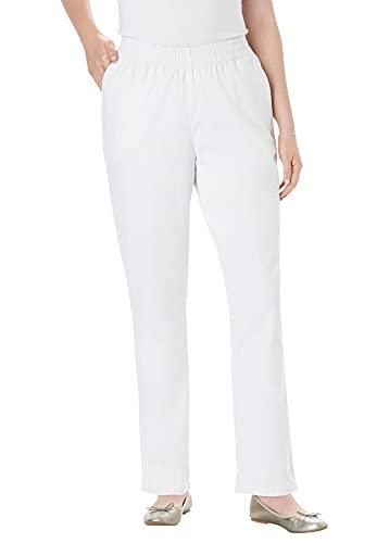 Woman Within Women's Plus Size Elastic-Waist Straight Leg Chino Pant - 22 W, White
