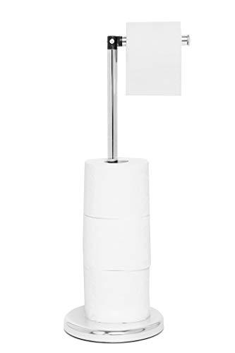 Pristine Verchromter, freistehender Toilettenpapierständer, Klopapierhalter mit Rollenaufbewahrung, ohne Montage