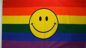 Regenbogen mit Smily Fahne Flagge Grösse 1,50x0,90m - FRIP –Versand®