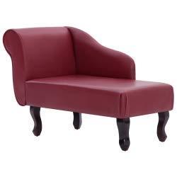 vidaXL Chaiselongue Recamiere Couch Sofa Sessel Chaise Relaxliege Loungesofa Liege Schlafsofa Liegesessel Schlafcouch Bettsofa Kunstleder Weinrot