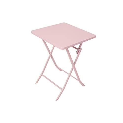 Semplice tavolo da spuntino portatile Pieghevole per mangiare al divano X-Frame Stivabile divano letto laterale tavolino da tavolino da caffè all'aperto puzzle crafting da campeggio ( Color : Pink )