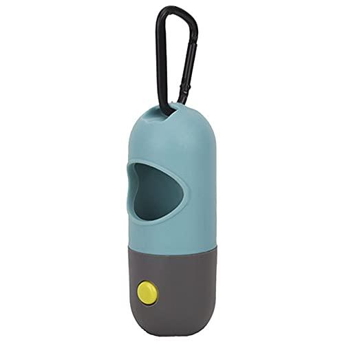 Dispensador de bolsas de caca para perros al aire libre con luz LED portátil para mascotas con mosquetón
