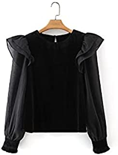 Heshaodecx Long Sleeve Tees for Women Ladies Fashion Rippled Patchwork Velvety Blouse Women's Top Basic O-Neck Shirt Top (...