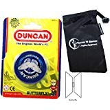 Duncan Butterfly YoYo (Blue) Beginners Entry-Level Yo Yo with Travel Bag! Great YoYos For Kids and...