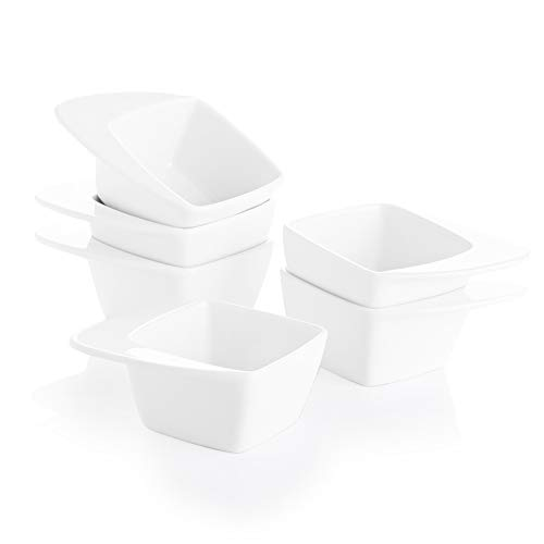 SWEEJAR Porcelain Dipping Bowls, 3 Ounce Rhombus Soy Sauce Dish with Handles for Ketchup, Appetizers, Condiment, Snack, Honey Mustard - Set of 6,(White)