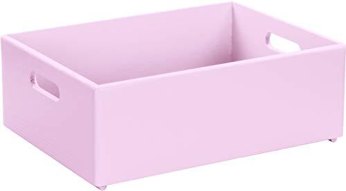 LAUBLUST Große Holzkiste mit Griffen - 40x30x14cm, Rosa, FSC® | Allzweck-Kiste und Aufbewahrungskiste | Spielzeug-Kasten | Deko-Kiste zum Basteln | Spielzimmer Einrichtung | Geschenk-Verpackung