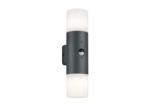 HOOSIC buitenwandlamp met bewegingsmelder & up/down verlichting & dimbare LED, aluminium antraciet, IP44