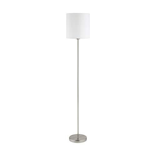 EGLO Lámpara de pie Pasteri, lámpara salón textil de 1 foco, lámpara de pie de acero y tela, color Níquel mate, Blanco, Portalámparas E27, incluye interruptor de pie
