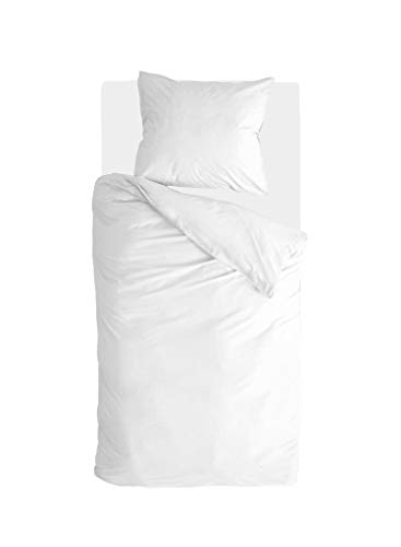 Walra Just Contempo - Juego de cama (2 piezas, 100% algodón, 155 x 220 cm), color blanco