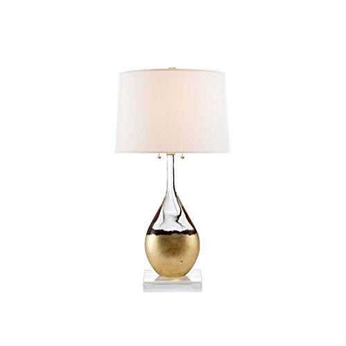 WZHZJ Moderna Botella de Vidrio Minimalista, lámparas de Mesa de Cristal, Sala de Estar Decorativa, Dormitorio, Estudio, mesita de Noche, Pantalla de Tela
