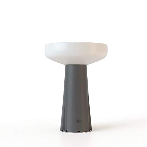 PAQUITA - Lámpara de mesa de exterior de polietileno LED solar recargable con detector de movimiento y mando a distancia, 40 cm, gris antracita New Garden