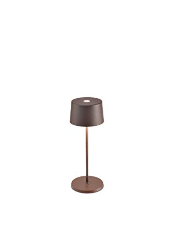 Zafferano - Olivia Mini Lámpara Led de Mesa Regulable, Protección IP65, Uso Interior/Exterior, Cargador Micro USB, H30cm, Enchufe UE, 2,2W - Corten